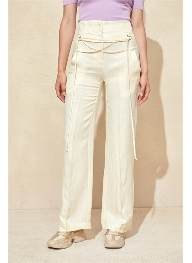 Setre Bej Yüksek Bel İp Detaylı Pantolon Bej